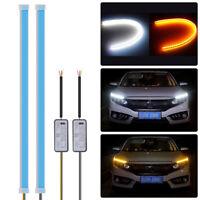 2PCS Flexible 30cm LED Clignotant DRL Phare Lumière Blanc + Ambre LD2003