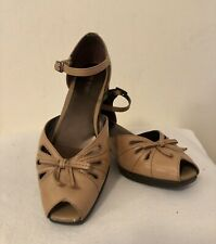 Liz Baker Ankle Strap Shoes Cognac Leather Wedge Heel Peep Toe Bow Size 6 M