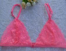 Womens Triangle Front Close Lace Minimiser Bra Unpadded Plunge Underwear Bralet