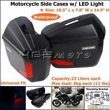 Motorcycle 23L Side Cases Panniers Tail Top Box Luggage Cargo Box w/ LED Light