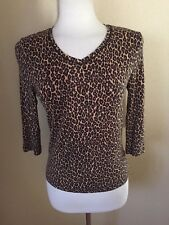 Amber Sun Petite V Neck Stretch Knit Top Size PS Cheetah Pattern Rayon/Spandex