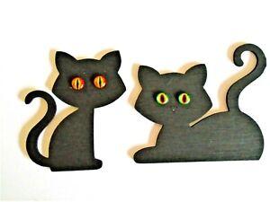 Black Cats Decoration- set of 2 , shelf, wall decoration ,painted, coloured eyes
