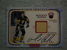 2002 fleer mario lemieux game used stick and autographed card 001/100 made