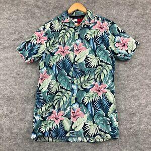 Tommy Hilfiger Mens Button Up Shirt Size S/M Multicoloured Linen Blend 10.22
