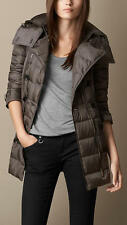 NWT BURBERRY BRIT Shoredale Nova Check Quilted Down Hooded Puffer Coat L XL