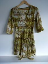 Ladies Lovely Per Una Green Mix Thigh Length V Wrap Tie Top Size 12, GC
