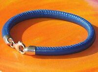 Mens / ladies 6mm blue nappa leather & sterling silver bracelet by Lyme Bay Art.