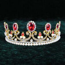 Ruby Crystal Tiara Bridal Pearl Royal Crowns Wedding Pageant Crown Rhinestone