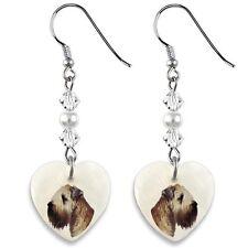 Wheaten Terrier 925 Sterling Silver Heart Mother Of Pearl Dangle Earrings EP41
