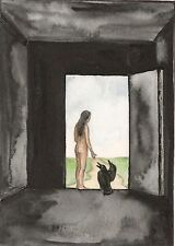 ACEO PRINT OF PAINTING RYTA GOTHIC NUDE ILLUSTRATION ART ROAD SURREALISM CROW