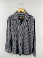 P.O.Box Men's Long Sleeve Casual Dress Button Up Shirt Size 2XL Black Stripe