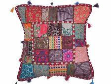 "Cowrie Shell Trendy Floor Pillow Cover - Beaded Big Sari Patchwork Euro Sham 26"""
