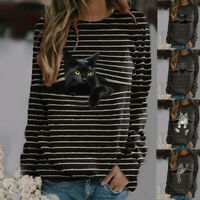 Women Long Sleeve Crew Neck Cat Print T Shirt Tee Loose Casual Tops Blouse