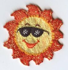 Shimmery Sun - Orange/Yellow/Sunglasses Iron On Applique/Embroidered Patch