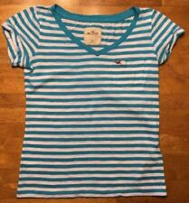 Hollister Women's Blue & White Striped Short Sleeve Pocket Shirt - Size: XS