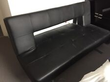 Dwell Black Leather Sofa bed