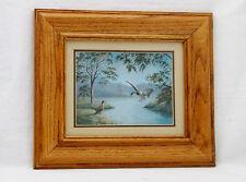 "Vintage F. Osborne ""Mallard Ducks""Foil-8"" x 6""-14.5 X 12.5 Foil/Signed/Framed"