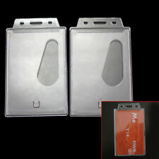 2x Vertical Badge ID Credit Card Holder Hard Case With Slot Chain Holes Clear