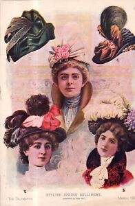 1900 Original Delineator Fashion print - Spring hats and Millinery