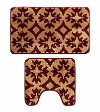Microfiber 2 Pieces Bathroom Loyal Bath Rug Pedestal Mat Set Burgundy and Brown