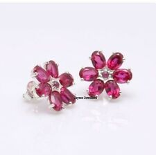 Stud Flower Shape Earring Ruby Gemstone Handmade 925 Sterling Silver