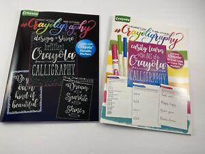 NEW 2 Books! Crayola Crayoligraphy Hand Lettering Learn Calligraphy Metallic Art