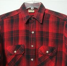 Five Brother Mens Large Flannel Shirt Red Black Plaid Thick Cotton Lumberjack