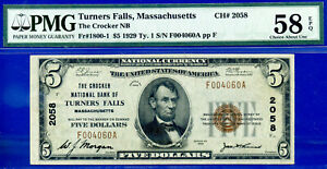 TOP POP 1/0 CH # 2058 - 1929 $5 (( FINEST Known - Turners Falls, MS)) PMG 58EPQ-