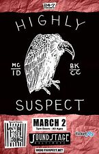 """HIGHLY SUSPECT / AND THE KIDS """"MC/ID BK/CC"""" 2016 BALTIMORE CONCERT TOUR POSTER"""