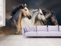 3D Galloping Horse Self-adhesive Living Room Wall Murals Wallpaper Photo Decor