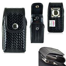 Genuine Leather Police Basket Weave Case for Motorola Barrage V860