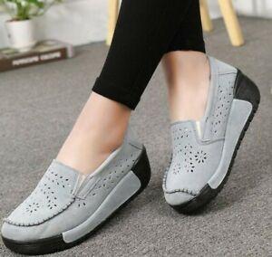 Chic Womens Platform Shoes Round Mid Heel Tassel Hollow Slip on Rubber Comfort