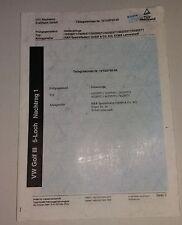 Orig. H&R-TÜV-Teilegutachten für Distanzscheiben VW Golf III 5-Loch Nachtrag 1