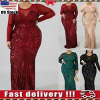 Women Sequins Long Sleeve Evening Gown Formal Bodycon Maxi Party Prom Dresses