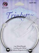 "Cousin TRINKETTES Silver Plated 2.5"" Twist End Bangle Bracelet---Add A Bead"