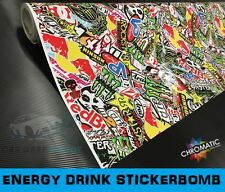 Sticker Bomb Gloss Car Wrap 1.52 x 3m - Bubble Free Vinyl Foile - Energy Drink