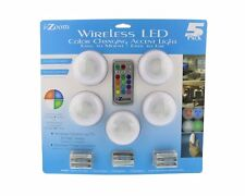 i-Zoom Wireless LED Color Changing Push Lights with Remote Control, 5 Pack - for