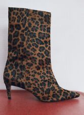 Zara Nwt Animal Print Leather Ankle Boots Ref: 2176|610. Size 9