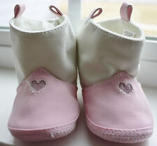 Unbranded Faux Leather Sparkle Heart Pink and White Boots Infant Sz 2 NWOT