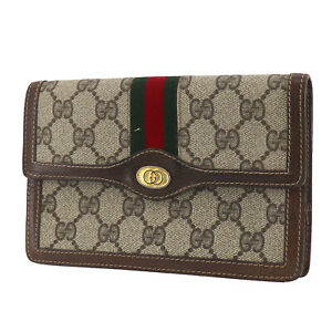 GUCCI GG Plus Web Stripe Used Clutch Pouch Bag Brown PVC Leather Italy #AB798 O