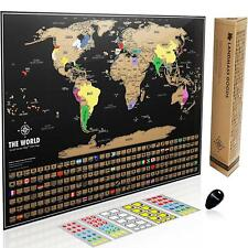 Scratch off World Map Poster Travel Tracker With Flags Personalized Adventure