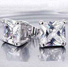 NEW 9K White Gold Filled Cubic Zirconia Unisex Stud Earrings,No allergy F3880