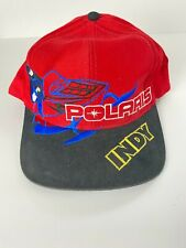 Vintage Polaris Indy Snapback Cap Red Hat Embroidered Snowmobile Black Rim