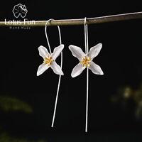 Handmade Poetic Clover Long Drop Earrings 925 Sterling Silver Jewlery for Women