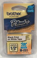 """Brother M231 P-touch Label Tape 1/2"""" Black on White"""