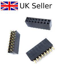 10Pcs 2x8 16 Pin 2.54mm Recto Hembra Doble Fila Encabezado Pitch Zócalo Pin Reino Unido