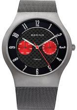 Bering Mens 11939-079 Classic Black Dial Silver Titanium Mesh Band Ti Watch
