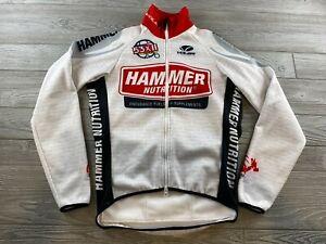 Mens Voler Hammer Nutrition Cycling Biking Jersey Size Small Full Zip White