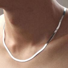 Cadena de Plata Collar De Hombre Plano BRILLANTE CIERRE PLATA DE LEY 925 NUEVO
