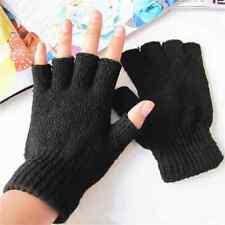 Men Women Stretch Knitted Gloves Fingerless Winter Warmer Mittens Black PAIR New